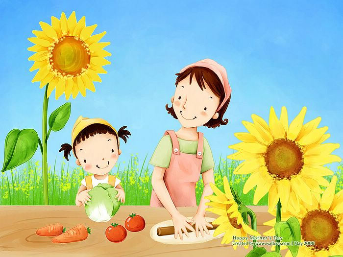 Lovely_illustration_of_mother_daughter_cooking_wallcoo.com